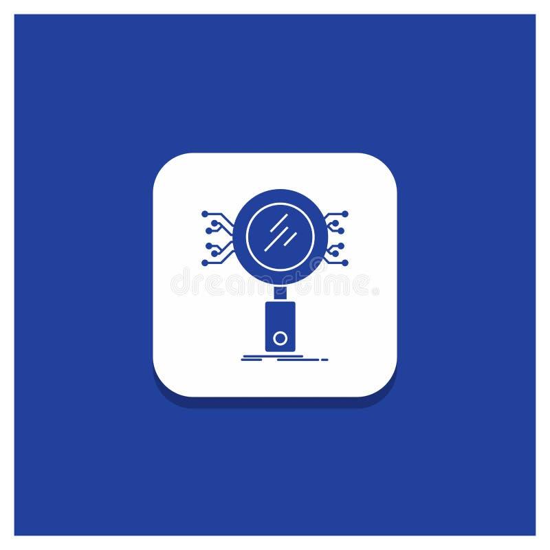 分析的,查寻,信息,研究,安全纵的沟纹象蓝色圆的按钮 皇族释放例证
