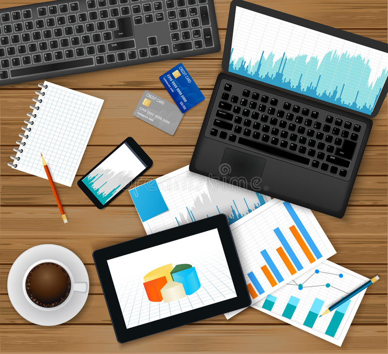 分析的财务,认为或者商人工作场所 顶视图-有财政图表的膝上型计算机在屏幕,片剂,文件上 向量例证