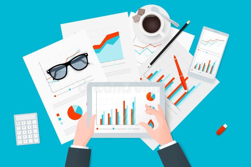 分析研究和报告关于纸板料,现代电子和移动设备 工作桌面顶视图 现代平的传染媒介desig 库存例证
