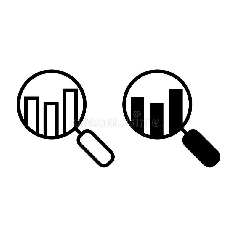 分析线和纵的沟纹象 有图在白色隔绝的传染媒介例证的透镜 搜索图概述样式设计 向量例证