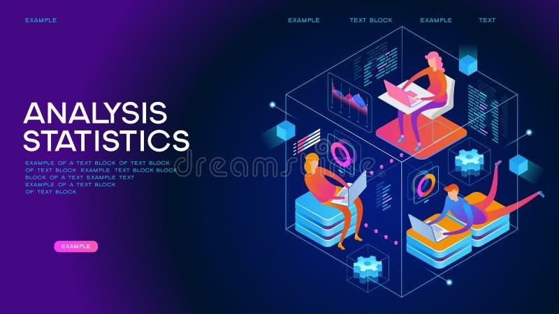 分析统计等量概念横幅 库存例证