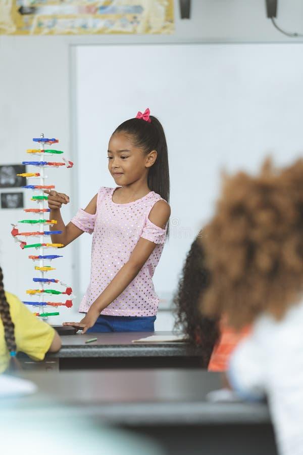 分析脱氧核糖核酸结构模型的Mixed-race种族女小学生在学校 免版税库存照片