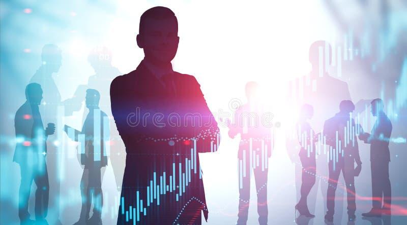 分析金融市场的商业领袖 库存照片