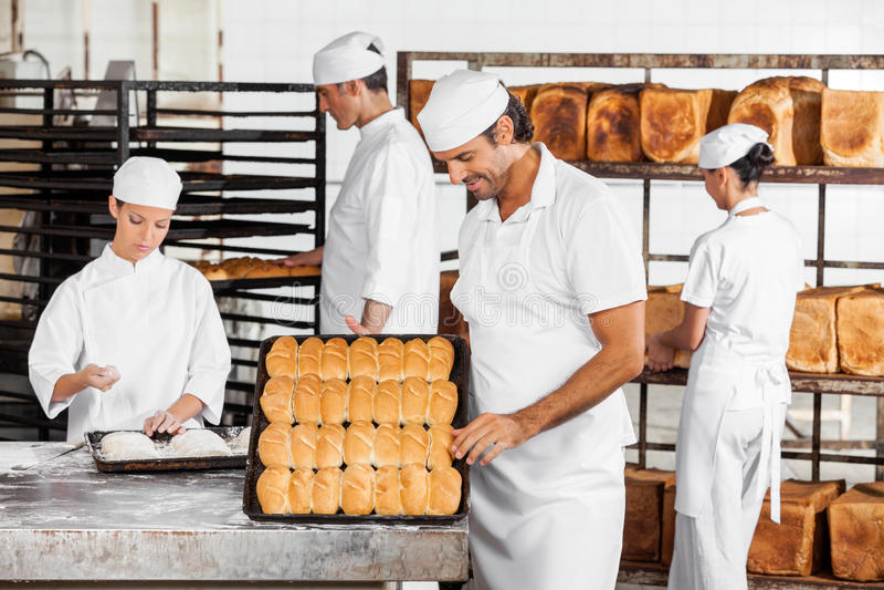 分析面包的人,当工作在面包店时的同事 免版税库存图片