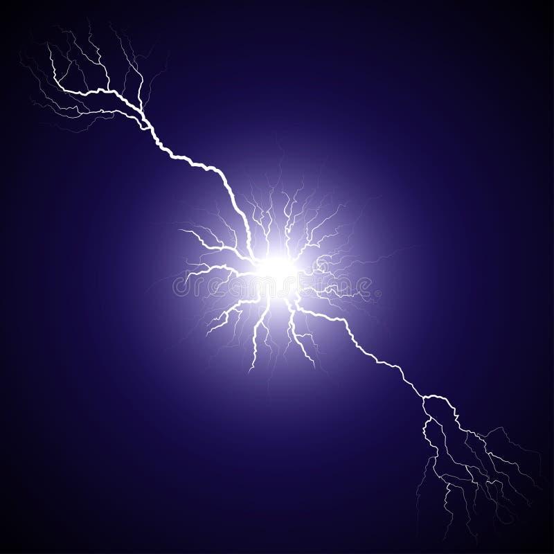 从分枝的中心的闪电 向量例证