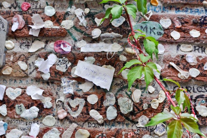 分泌树液在维罗纳里面意大利Giulietta阳台的墙壁  免版税库存图片