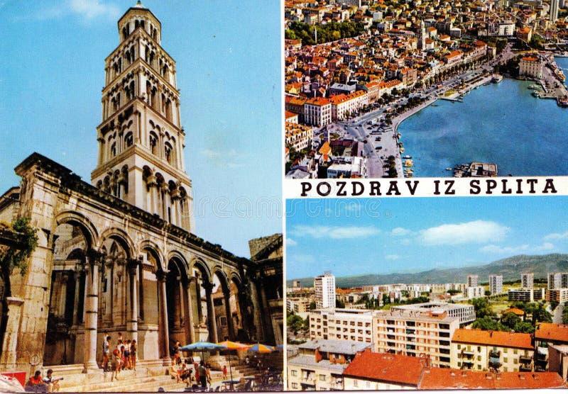 从分裂的VVintage明信片,克罗地亚 图库摄影