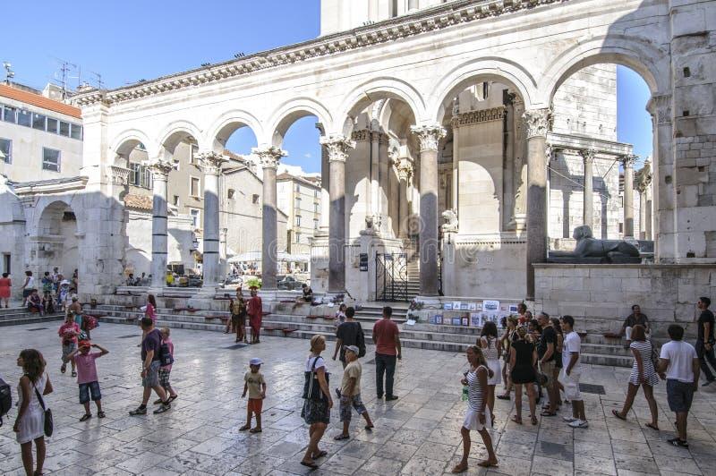 分裂,达尔马提亚,克罗地亚,欧洲, diocletian的宫殿的peristyle 图库摄影