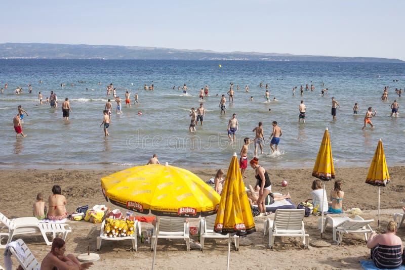 分裂, HR- Becvive海滩在分裂在克罗地亚 免版税库存图片