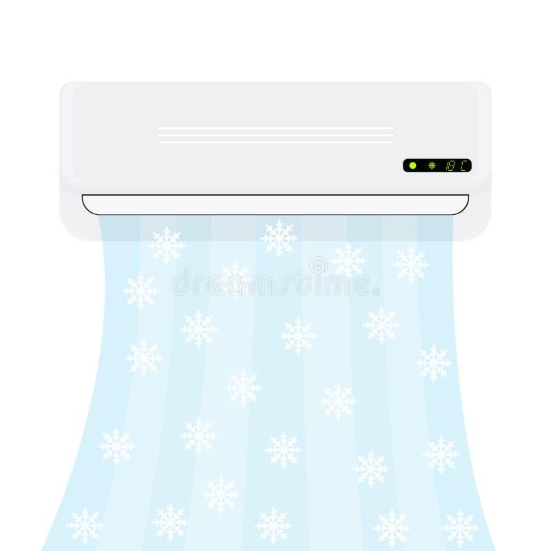 分裂系统空调器 与冷空气的现实调节剂与雪花 蝴蝶 皇族释放例证
