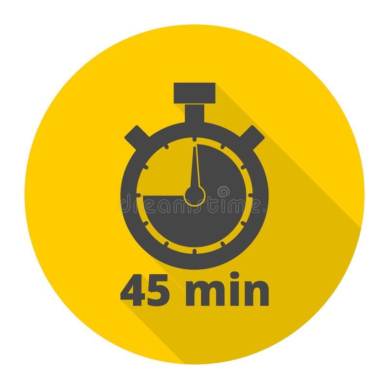 45分钟秒表标志,与长的阴影的定时器象 向量例证