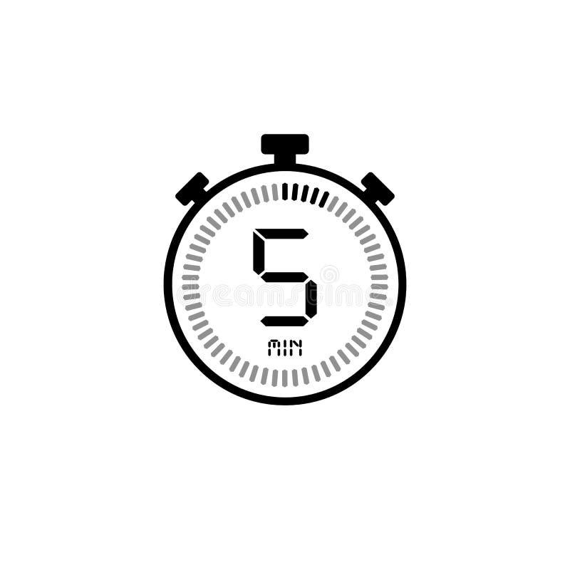 5分钟,秒表象,数字定时器 报时表,定时器,读秒标志 向量例证