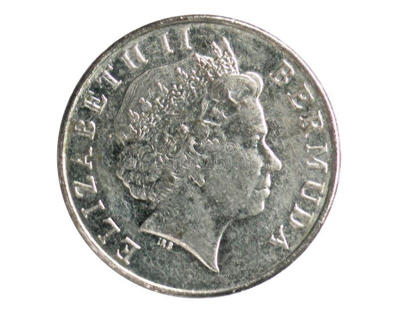 5分铸造,1970~Today -循环-美元serie,百慕达银行 反向,发布在1999年 库存图片