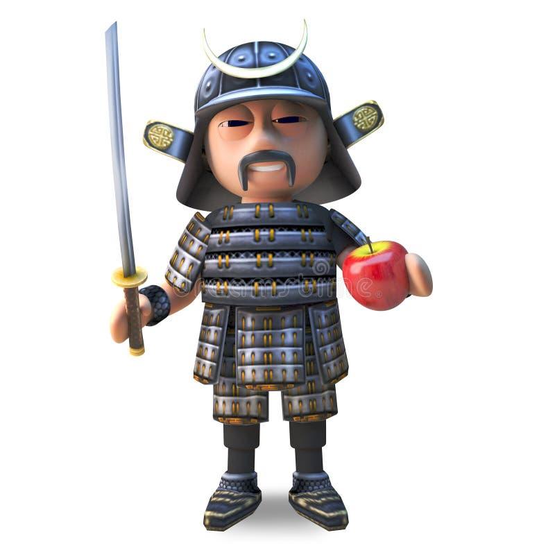 切与他优美的katana剑,3d的一个苹果的3d的强大日本武士战士例证 库存例证