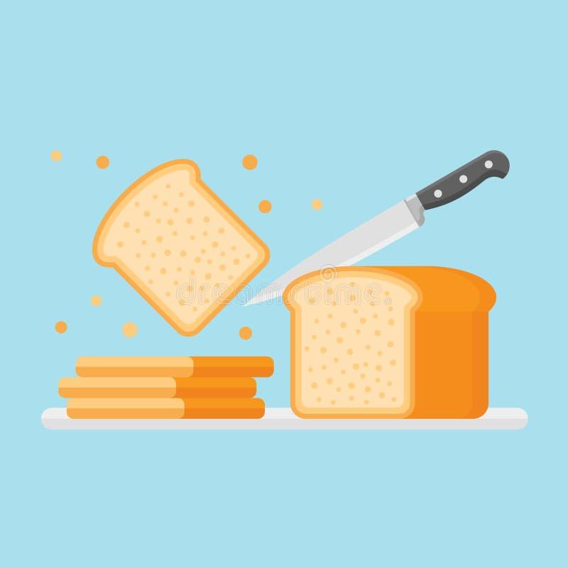切与刀子的多士面包 平的样式传染媒介例证 库存例证