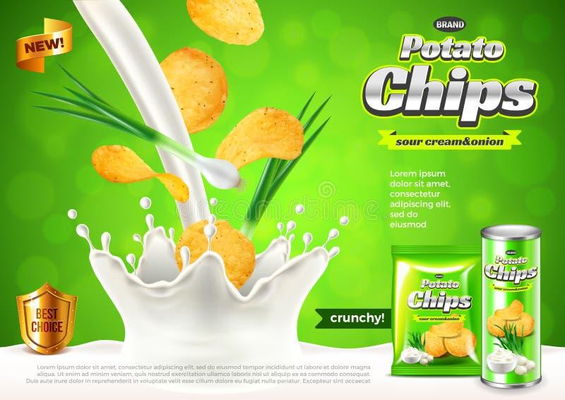切削广告 在倾吐酸性稀奶油传染媒介背景的葱 库存例证