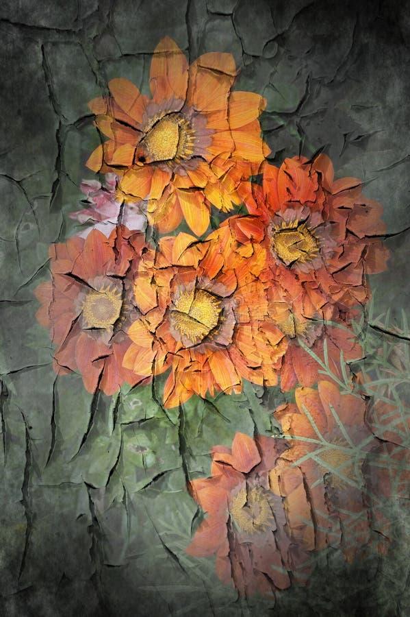 切削的花绘墙壁 免版税库存图片