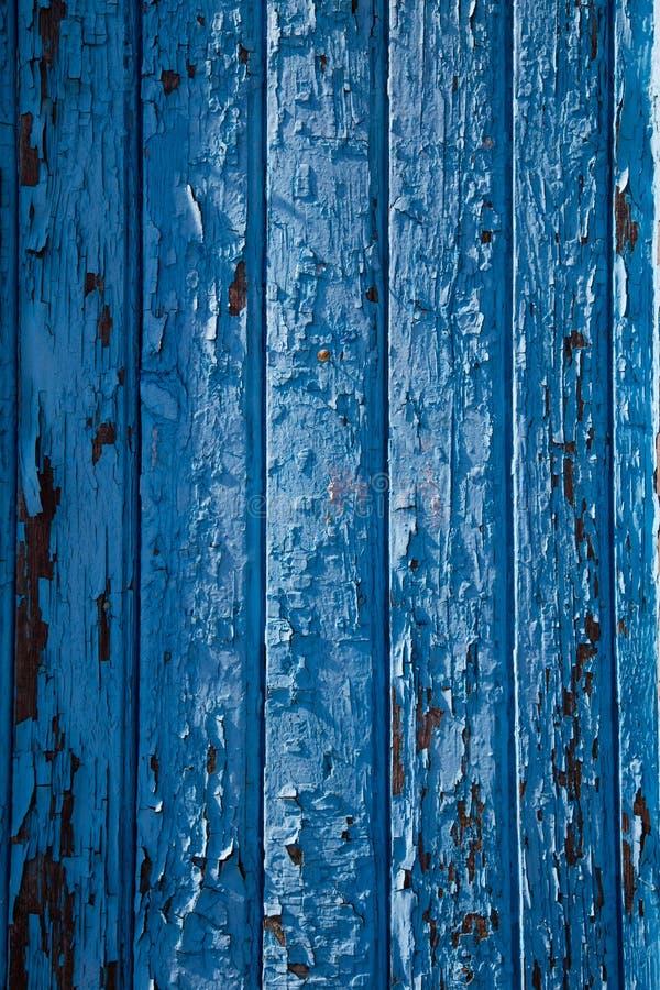 切削的蓝色油漆墙壁纹理 图库摄影
