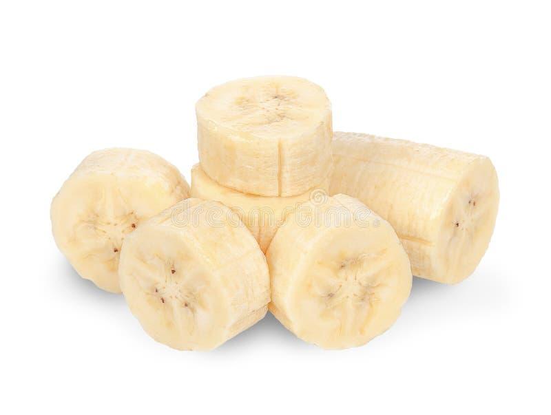 切在与裁减路线的白色隔绝的香蕉 库存照片