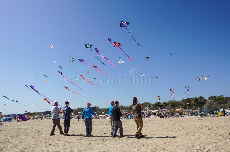 切尔维亚,意大利,2018年4月:许多五颜六色的风筝用在切尔维亚国际风筝节日Artevento的不同的形状2018年 免版税库存照片