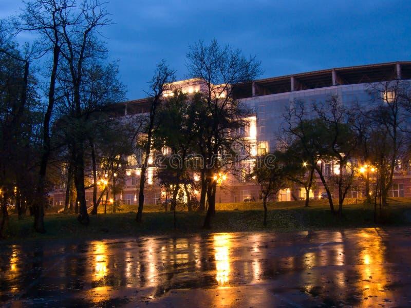 切尔诺莫雷茨体育场在傲德萨在晚上 库存图片