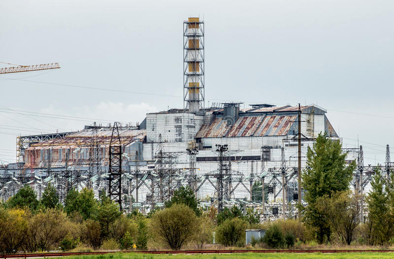 切尔诺贝利核电站石棺 免版税库存图片