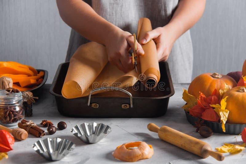 切开了烘烤的纸以铁形式烹调烘烤的妇女 库存图片