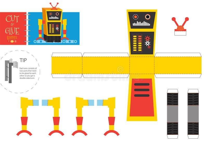 切开和胶浆机器人玩具传染媒介例证 皇族释放例证