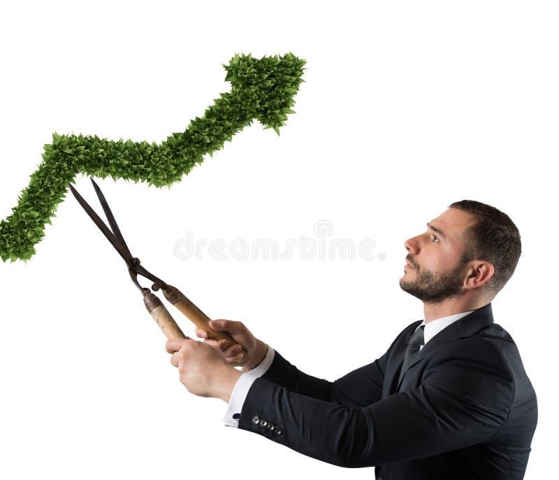 切开并且调整一棵植物被塑造象箭头stats的商人 新运作公司的概念 3d翻译 库存照片