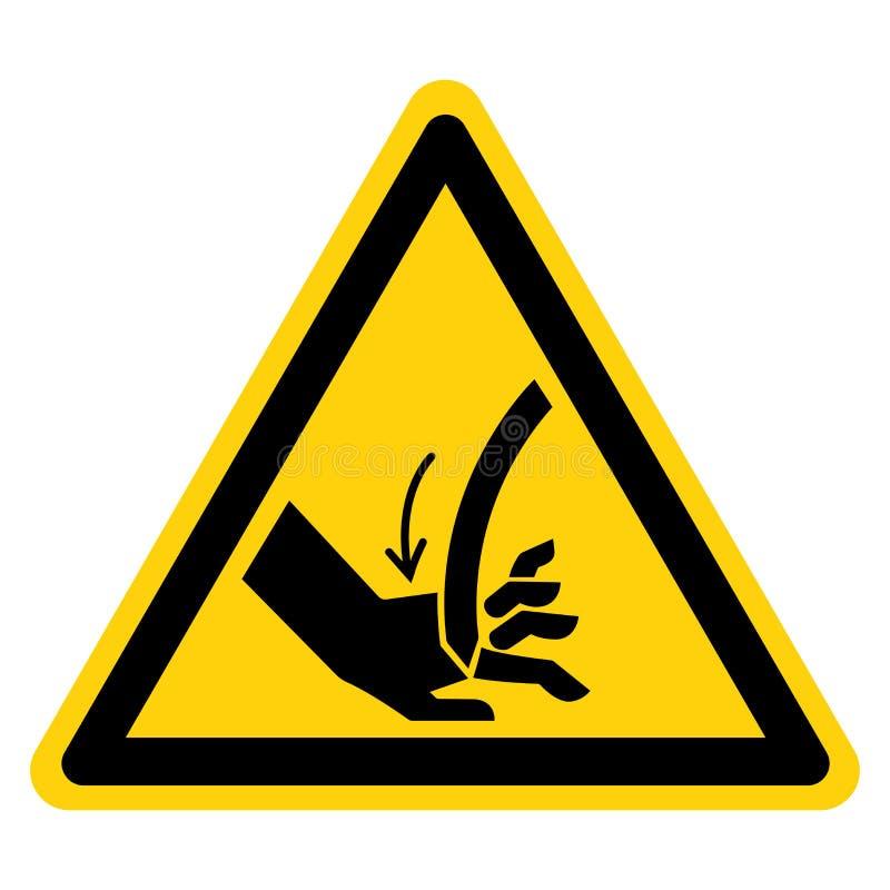切开手弯曲的刀片标志标志,传染媒介例证,在白色背景标签的孤立 EPS10 向量例证