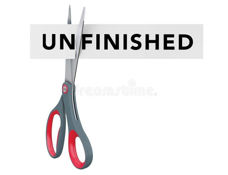 切开未完成对与剪刀的完成的纸标志 3d烈 库存例证