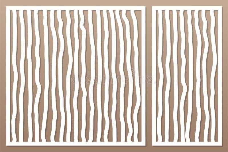 切开的激光或绘图员装饰卡集 乱画线样式盘区 激光裁减 比率1:2;1:1 也corel凹道例证向量 库存例证