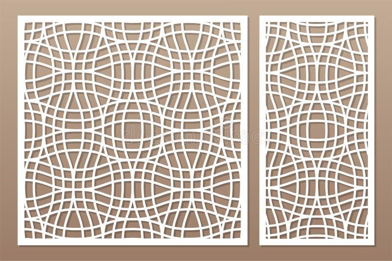 切开的激光或绘图员装饰卡集 线性几何样式盘区 激光裁减 比率1:2, 1:1 也corel凹道例证向量 皇族释放例证