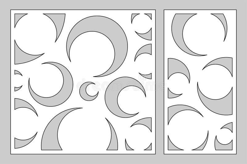 切开的激光或绘图员装饰卡集 艺术装饰样式盘区 激光裁减 比率1:2, 1:1 也corel凹道例证向量 向量例证