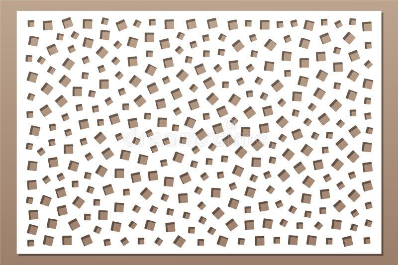 切开的装饰卡片 重复方形的样式 激光裁减盘区 比率2:3 也corel凹道例证向量 皇族释放例证