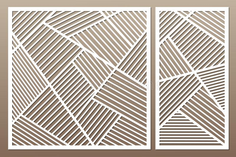 切开的集合装饰卡片 几何线路模式 激光c 向量例证