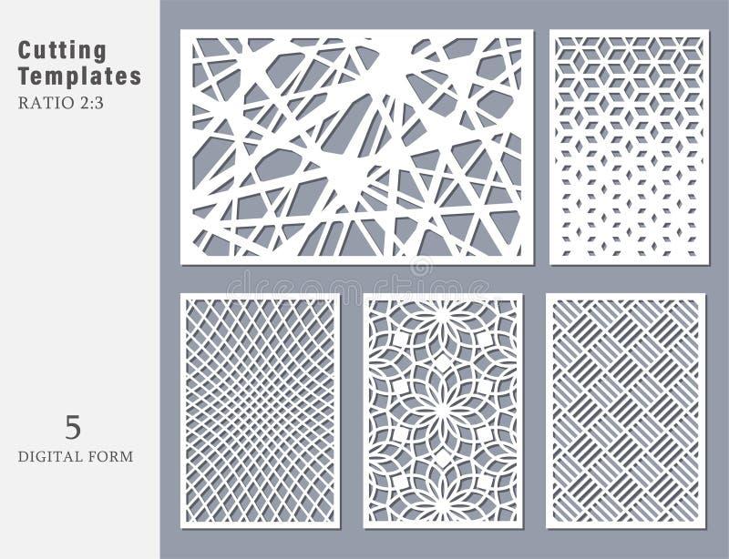 切开的集合装饰卡片 抽象几何线性 向量例证