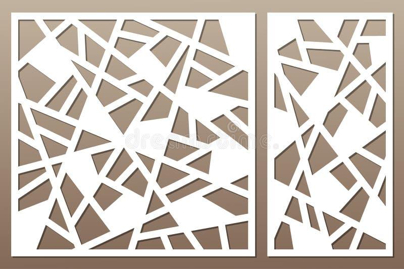 切开的集合装饰卡片 抽象线路模式 激光c 库存例证