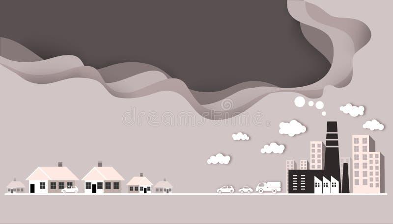 切开纸-工业空气污染 皇族释放例证