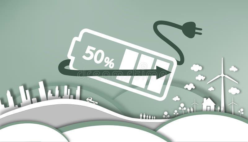 切开纸-能量的减少从资本的到使用纯净的可再造能源 向量例证
