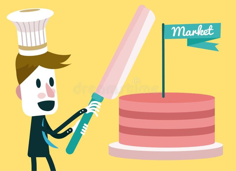 切开蛋糕的商人。 向量例证