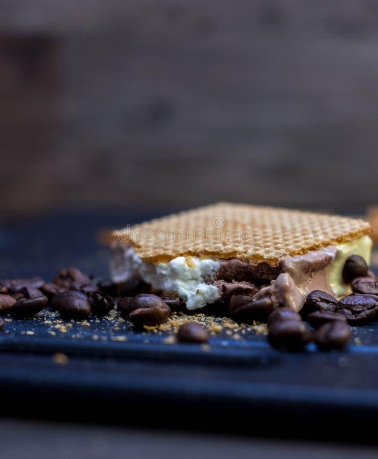 切开香草、巧克力和奶油色冰淇淋在奶蛋烘饼和咖啡豆旁边 库存照片