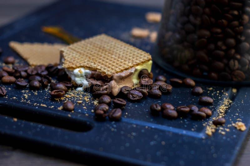 切开香草、巧克力和奶油色冰淇淋在奶蛋烘饼和咖啡豆旁边 免版税库存图片