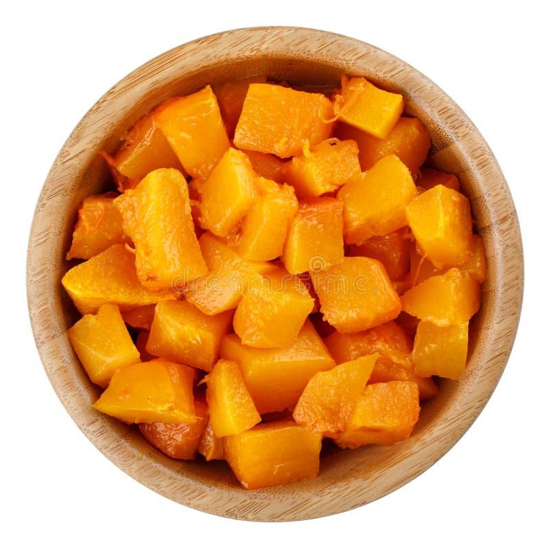 切成小方块的被烘烤的南瓜 免版税图库摄影