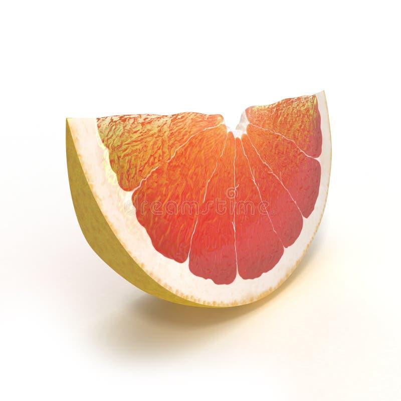 切成熟葡萄柚的部分被隔绝在白色 3d例证 皇族释放例证
