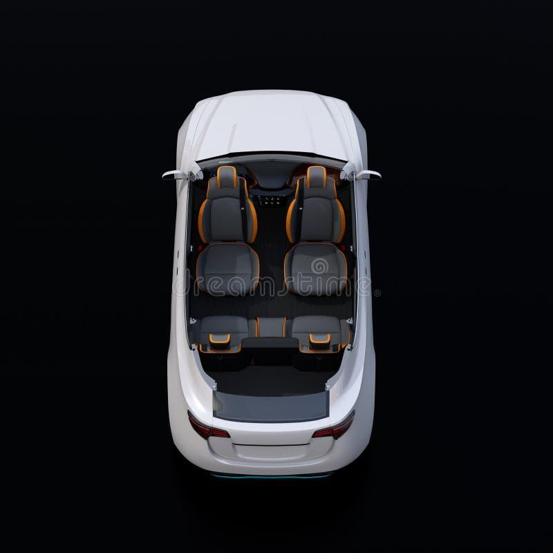 切掉的在黑背景的白色自驾驶的电SUV汽车背面图  库存例证