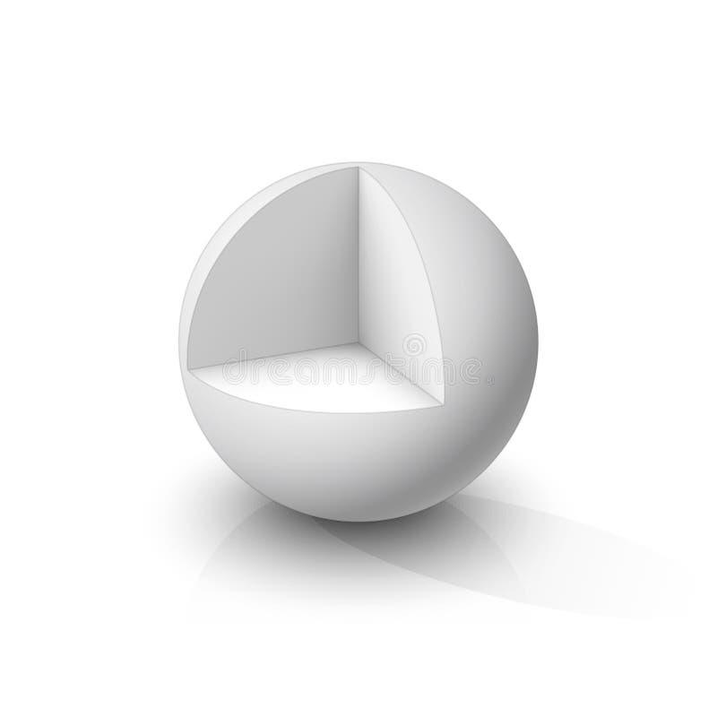 切掉的3d球形 皇族释放例证