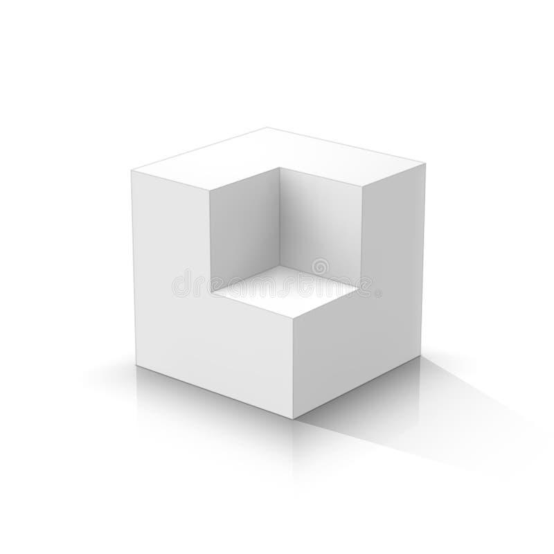 切掉的3d立方体 库存例证