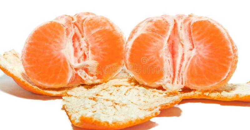 切片一个成熟蜜桔 免版税库存照片