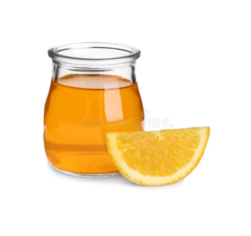 切片在玻璃瓶子的橙色和鲜美果冻点心 库存照片